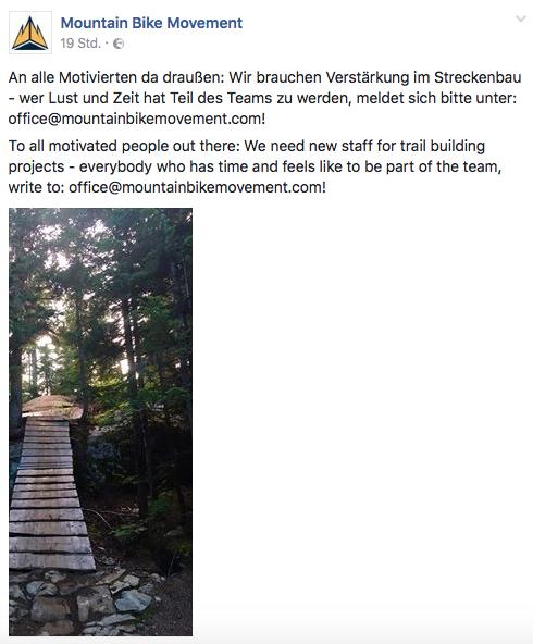 Screenshot Facebook-Post Mountain Bike Movement Crankworx 2017 Innsbruck