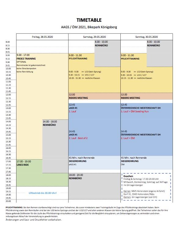 Zeitplan Timetable Königsberg 2021