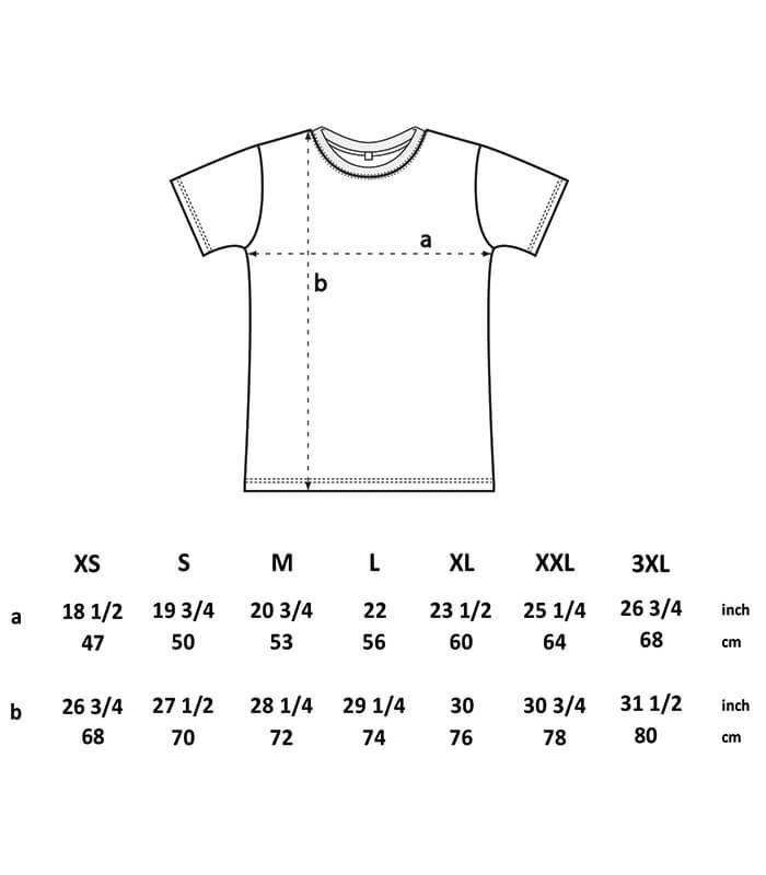 LINES T-Shirt Größentabelle